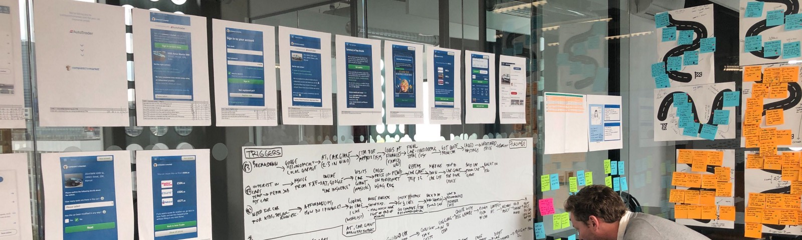 A designer working on some customer journey mapping