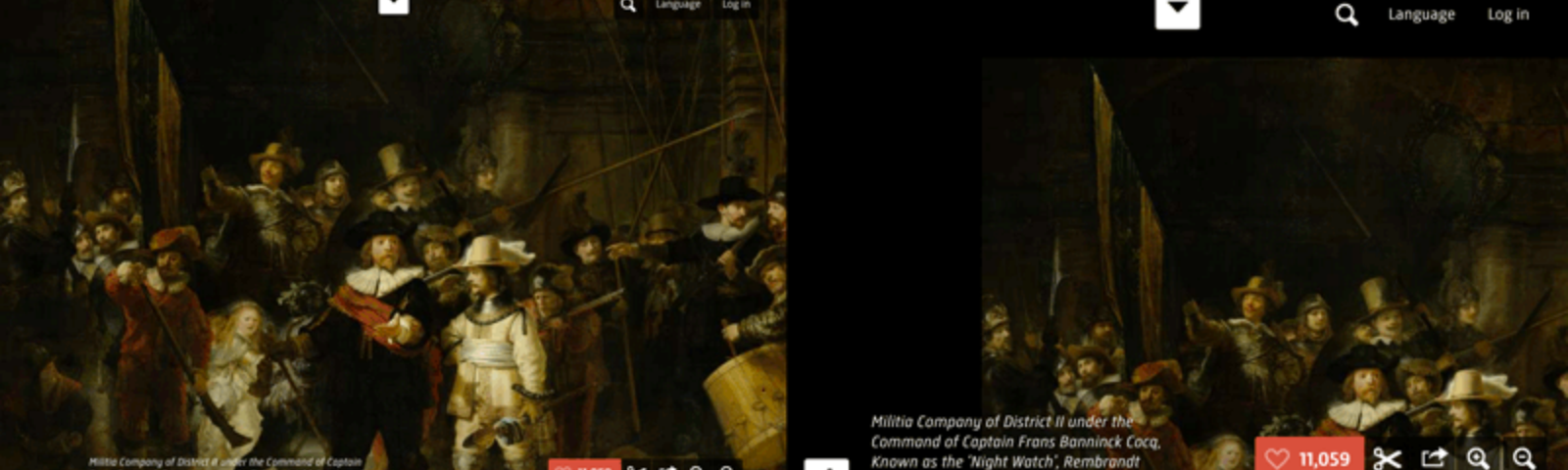 Image of The Night Watch, showing some issues with layout when the page is zoomed in to 150%