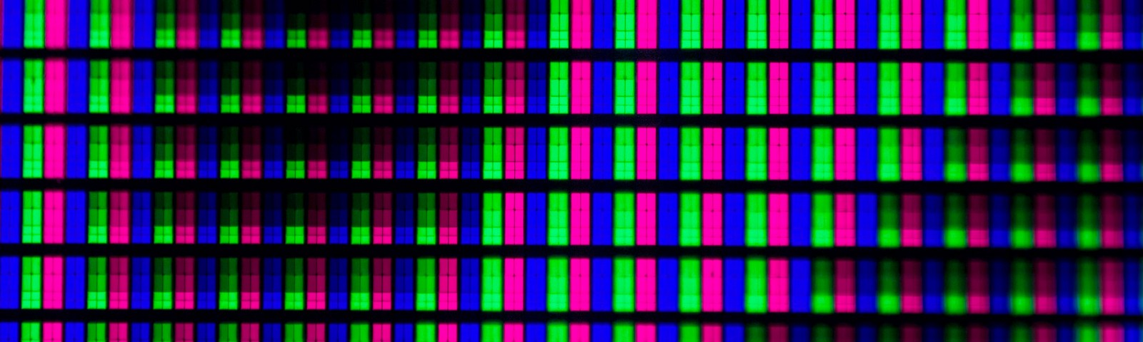 Pink, green, and blue rectangles repeating in rows