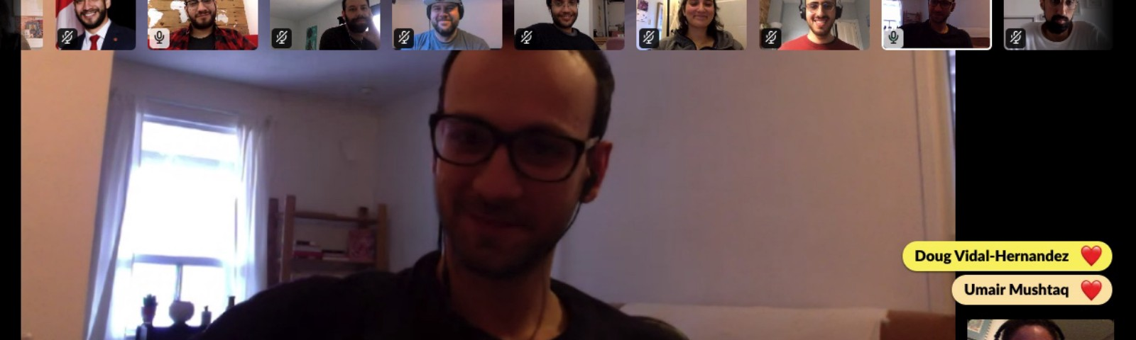 Our team's faces on screen during our remote retro meeting via Slack!