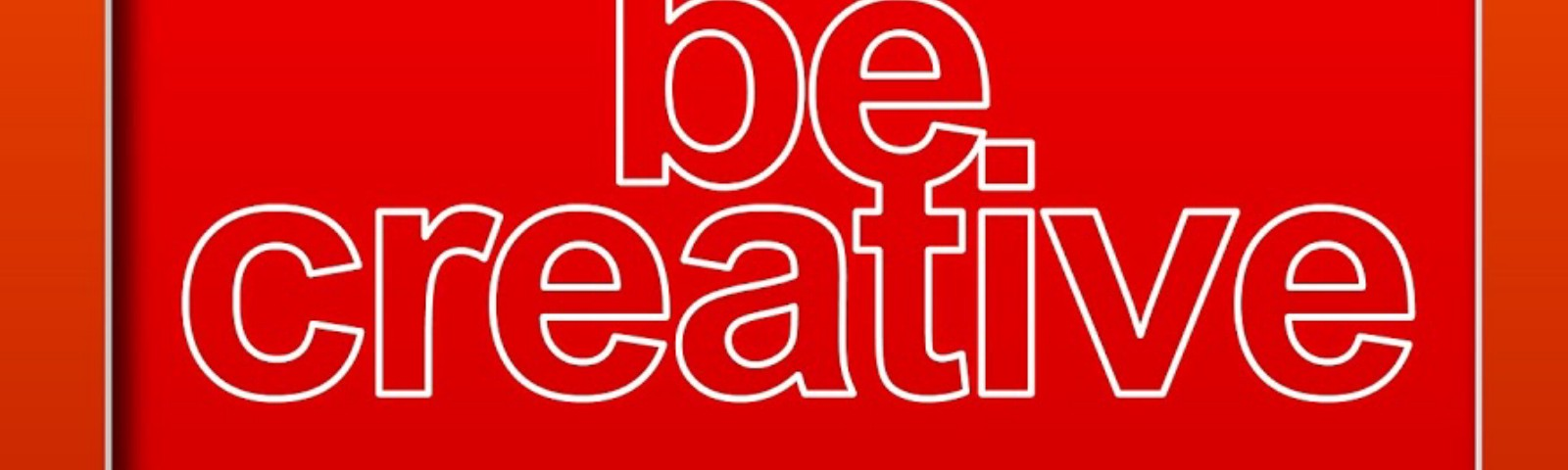 red background with silhouette woman standing horizontally pointing at caption 'be creative'