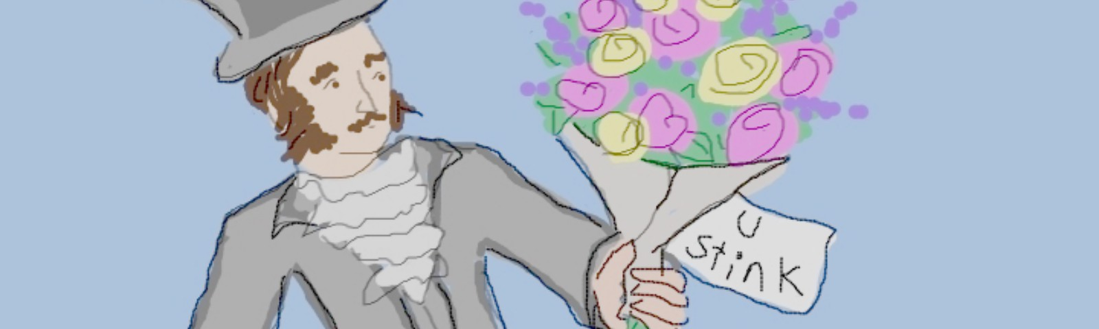 """Victorian man with bouquet and card reading """"U Stink"""""""