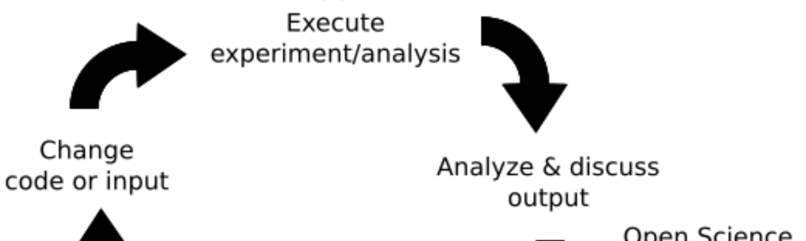 Cycle: Execute experiment/analysis with popper; analyze and discuss output uploaded to Open Science Framework; draw conclusions in your lab journal; change code or input; execute again…