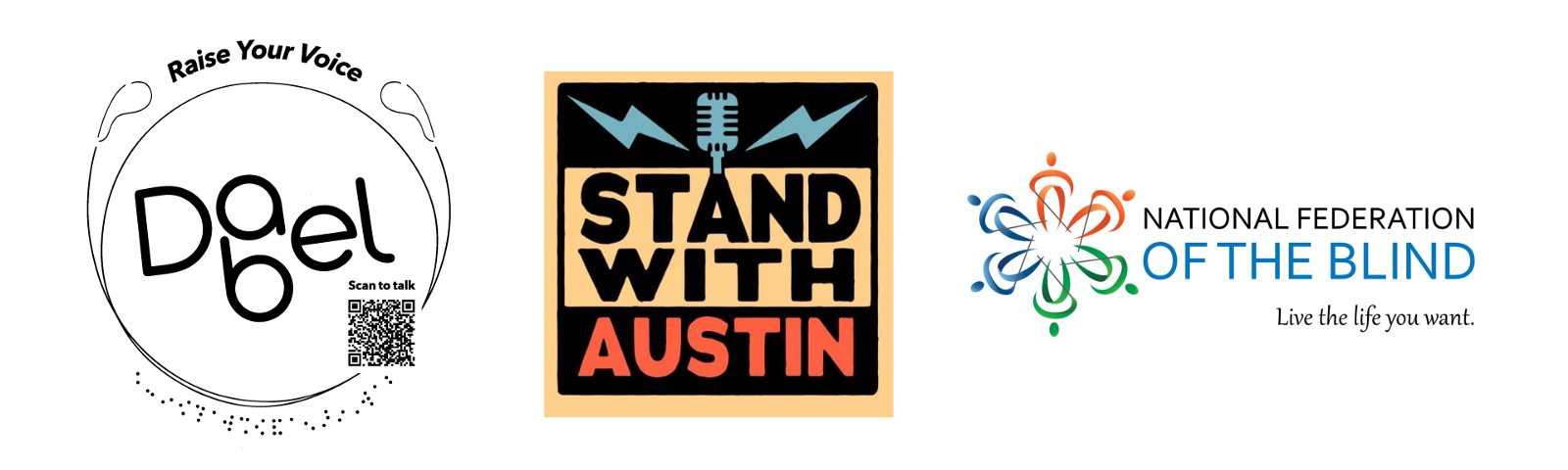 Dabel, Stand With Austin, and National Federation of Blind logos