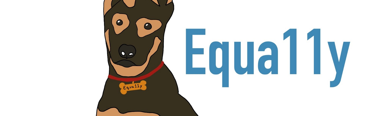 """Company logo of dog with one ear down and one ear perked with the word """"equa11y"""" (pronounced equally) next to it"""
