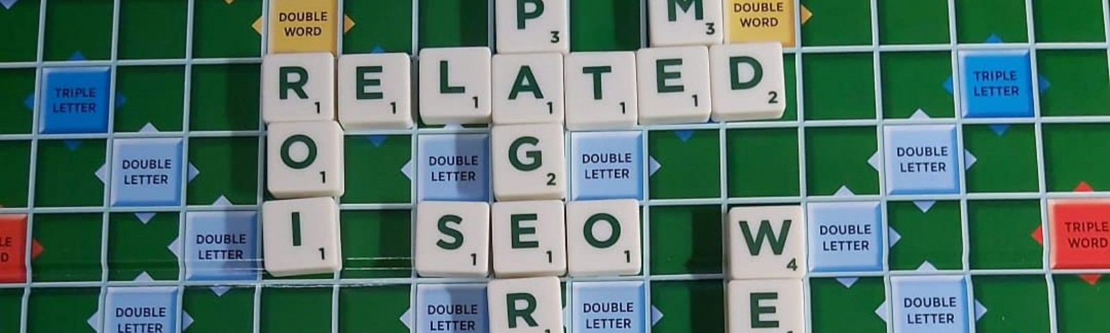 A Scrabble board with SEO-related words spelled out there.