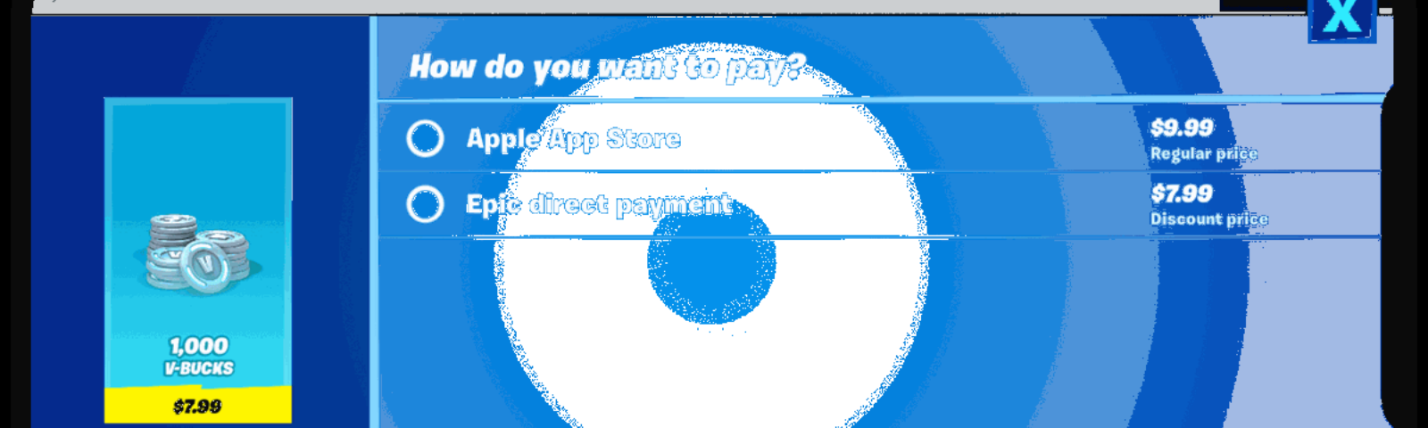 """Screenshot of the """"direct payments"""" option in Fortnite that violates Apple's App Store Terms of Service"""