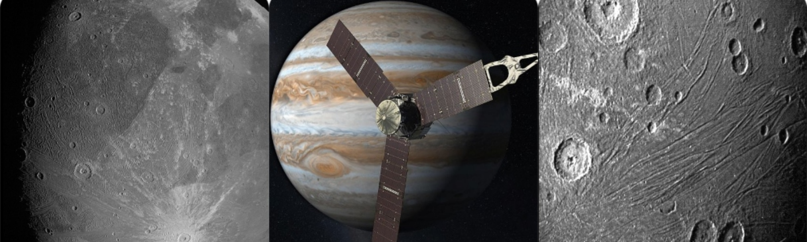 Two images of Ganymede from Juno, as well as the spacecraft.
