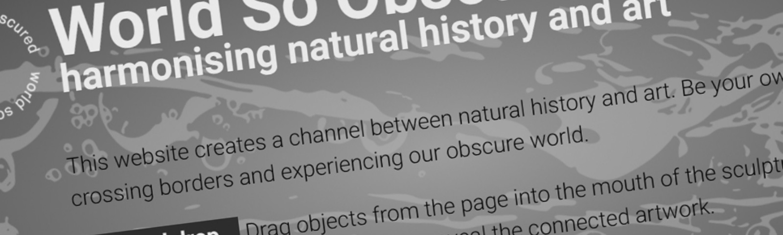 """Screengrab of a webpage with writing on. The title says """"World So Obscured. Harmonising natural history and art."""""""