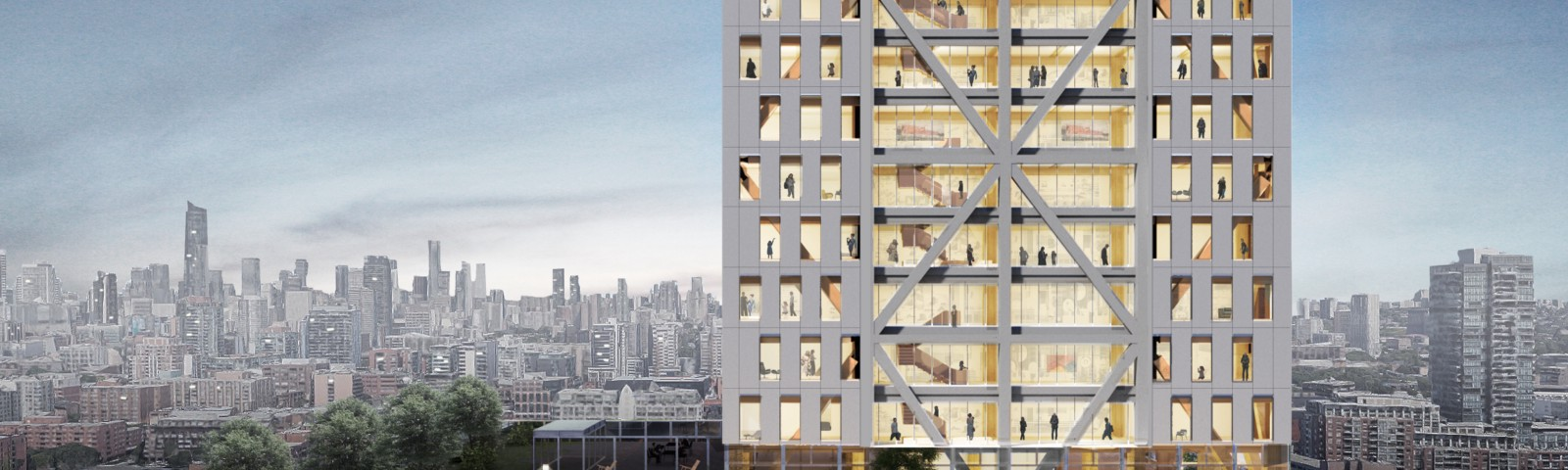 Architectural rendering shows the exterior of a tall timber building. A city skyline is in the background.