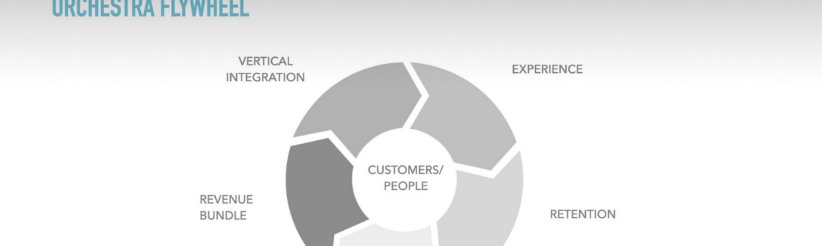 Flywheel with the customer at the center and five parts surrounding it: experience, retention, representation, revenue bundle, vertical intergration