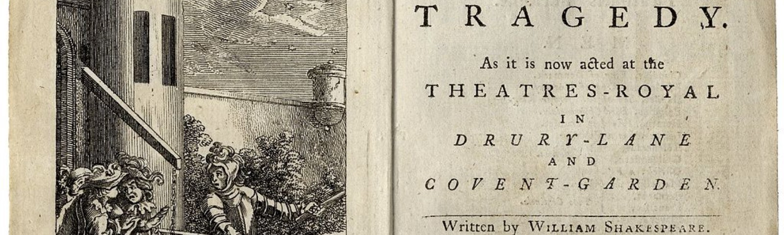 Title page and frontispiece for Hamlet, Prince of Denmark: A Tragedy. As it is now acted at the Theatres-Royal in Drury-Lane and Covent-Garden. London, 1776