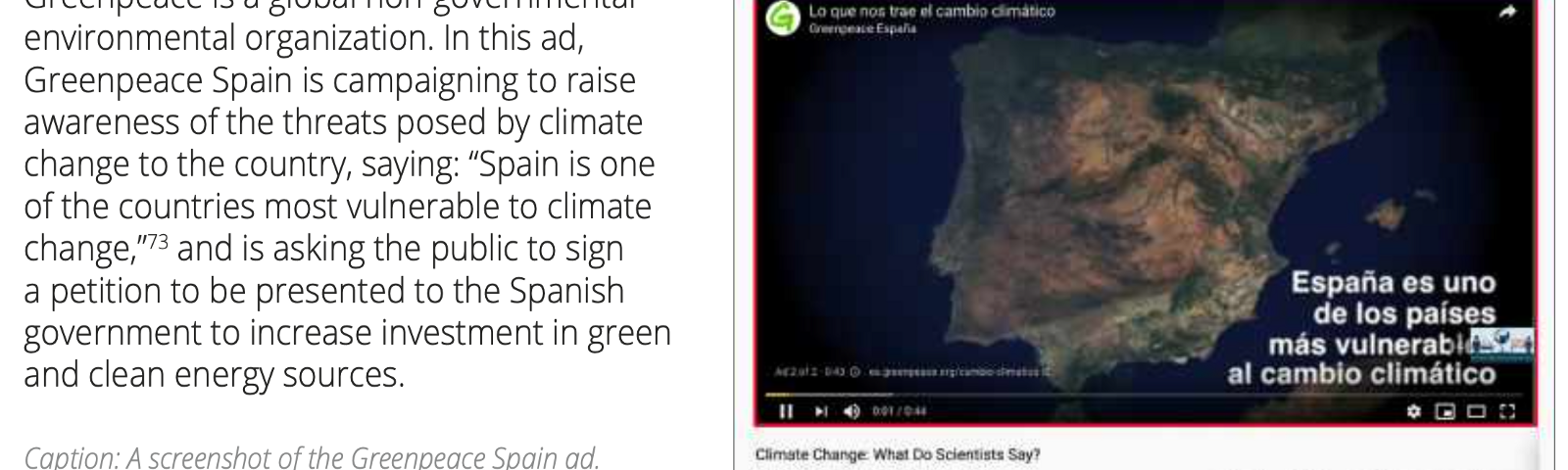 """Screenshot of a YouTube video titled """"Climate Change What Do Scientists Say?"""" playing an ad by Greenpeace Spain"""