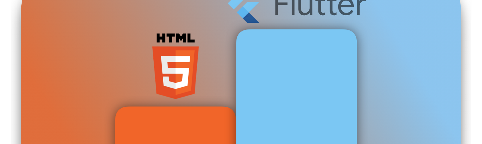 wordmarks and logos for HTML 5 and Flutter