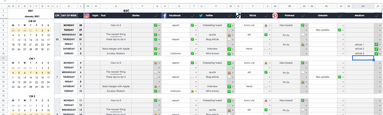Screenshot of the template showing the Jan '21 tab with random dummy data.