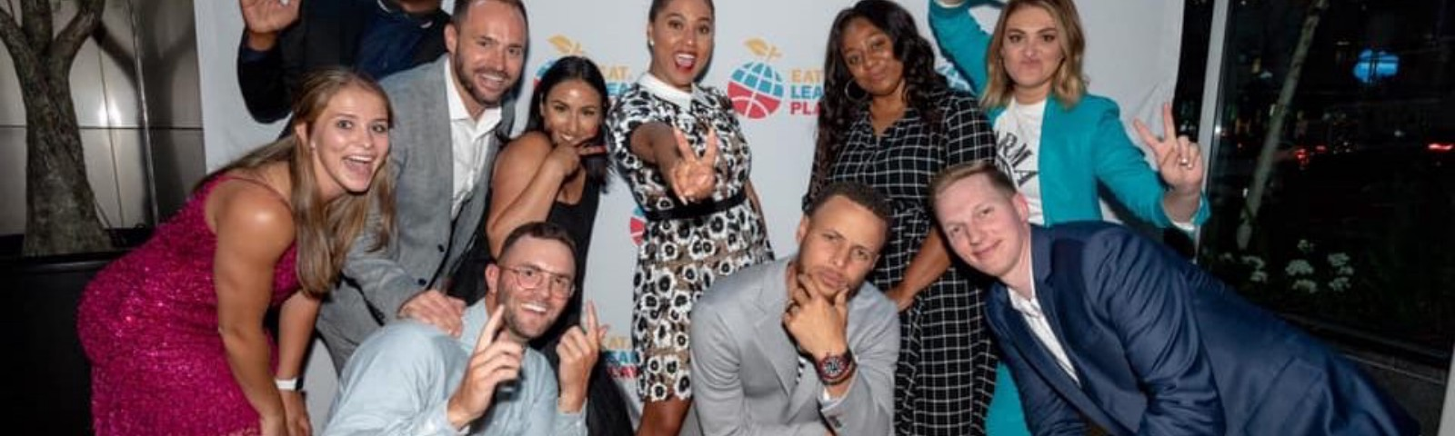 Members of Eat. Learn. Play. Foundation. including Steph and Ayesha Curry, and Bryant Barr '10 with intern Katie Turner.