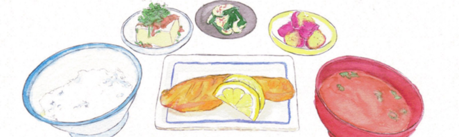 An illustration of a Japanese breakfast of fish, rice, miso, etc.