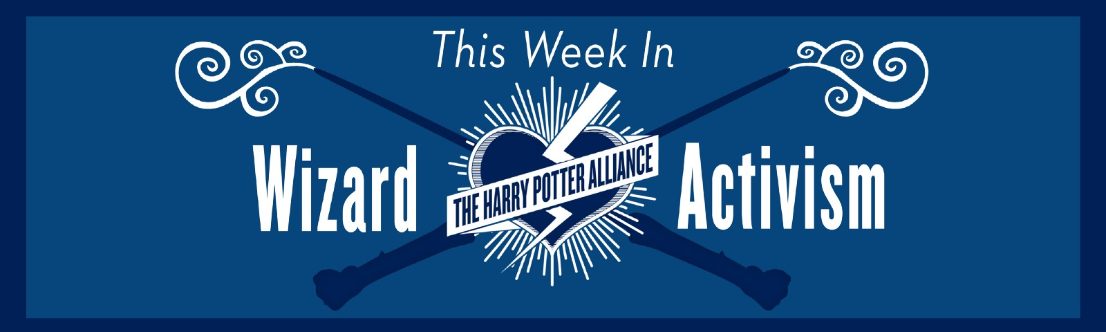 "Graphic of our This Week in Wizard Activism logo! It features the words ""This Week in Wizard Activism"" and our logo on a blue"