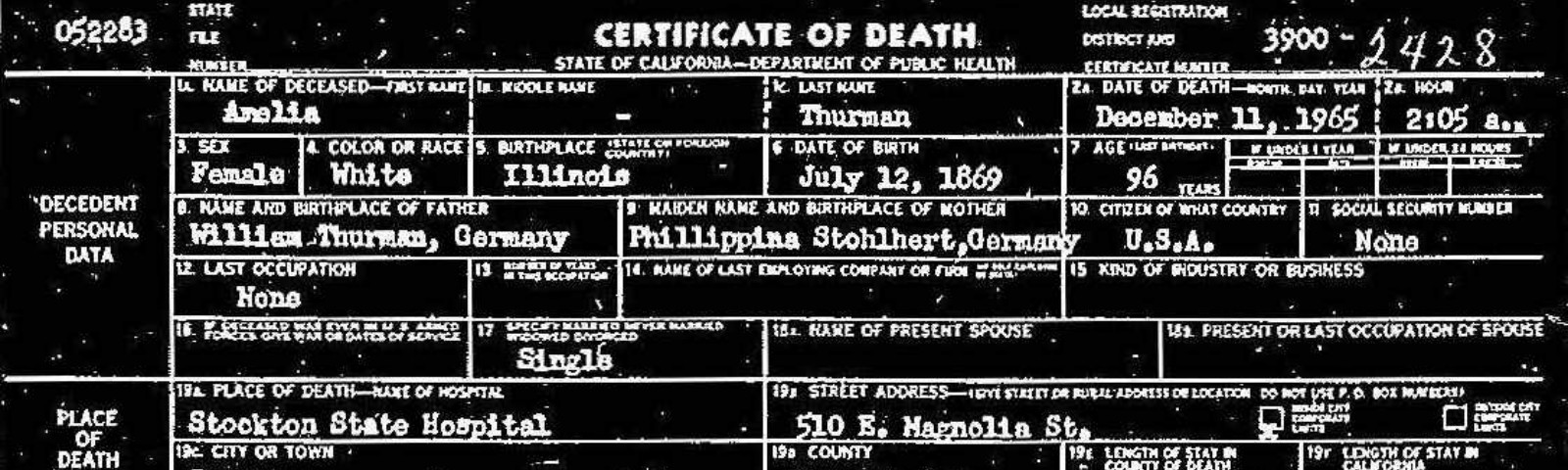 """The death certificate for Amelia Thurnau with her surname misidentified as """"Thurman."""""""