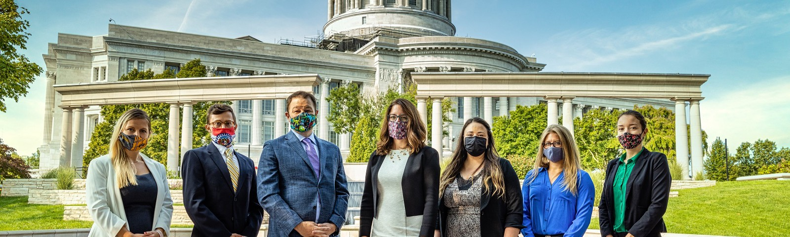 The Missouri Science & Technology Policy Initiative team pictured outside the Missouri State Capitol building
