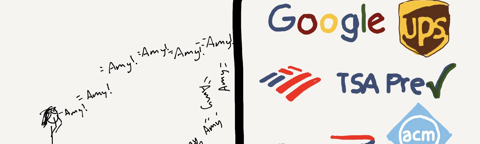 "A stick figure yelling a flurry of ""Amy!""'s at a wall, bouncing off in a pile. Corporate logos on the right, behind the wall."