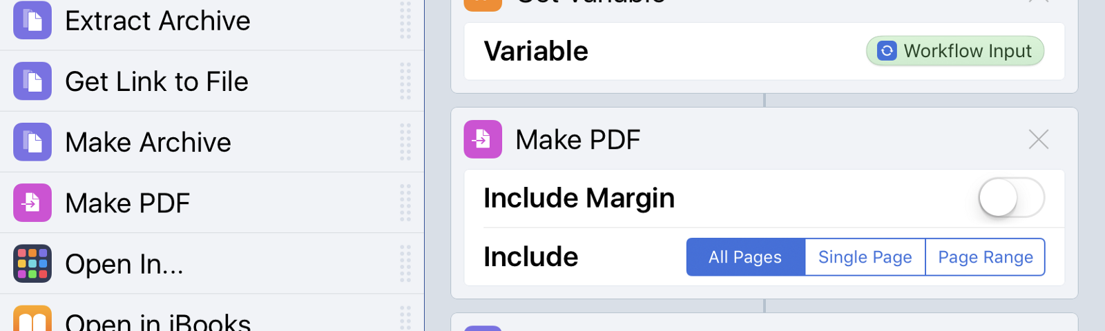 The aforementioned web-to-PDF action, implemented in Workflow