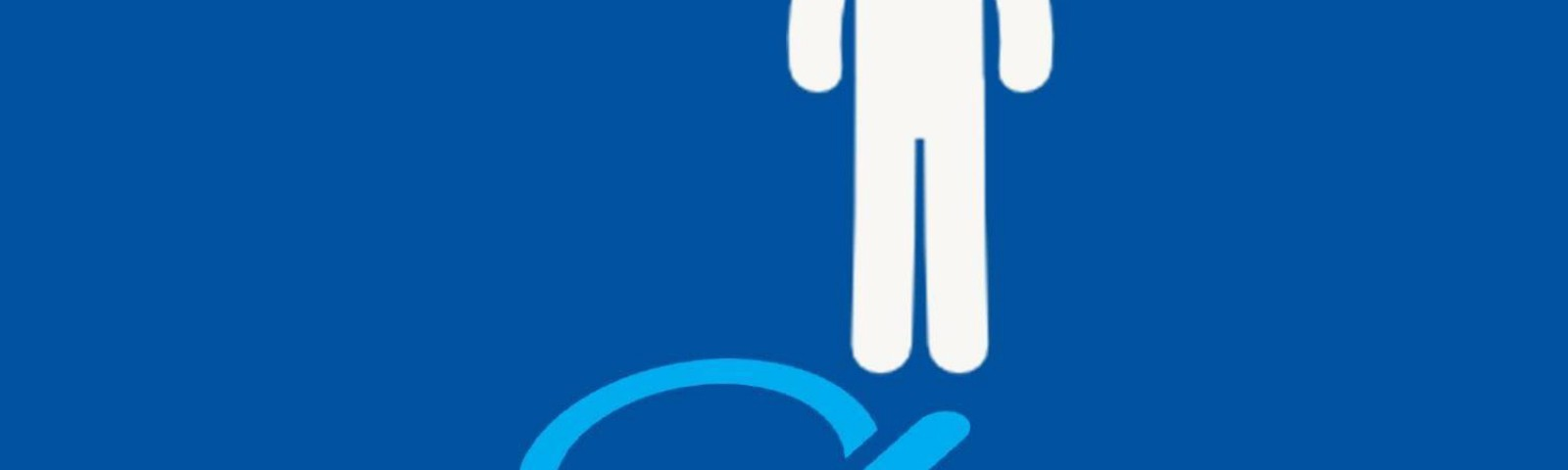 """""""Not every disability is visible"""". white stick figure with pale blue wheelchair symbol shadow; blue background."""