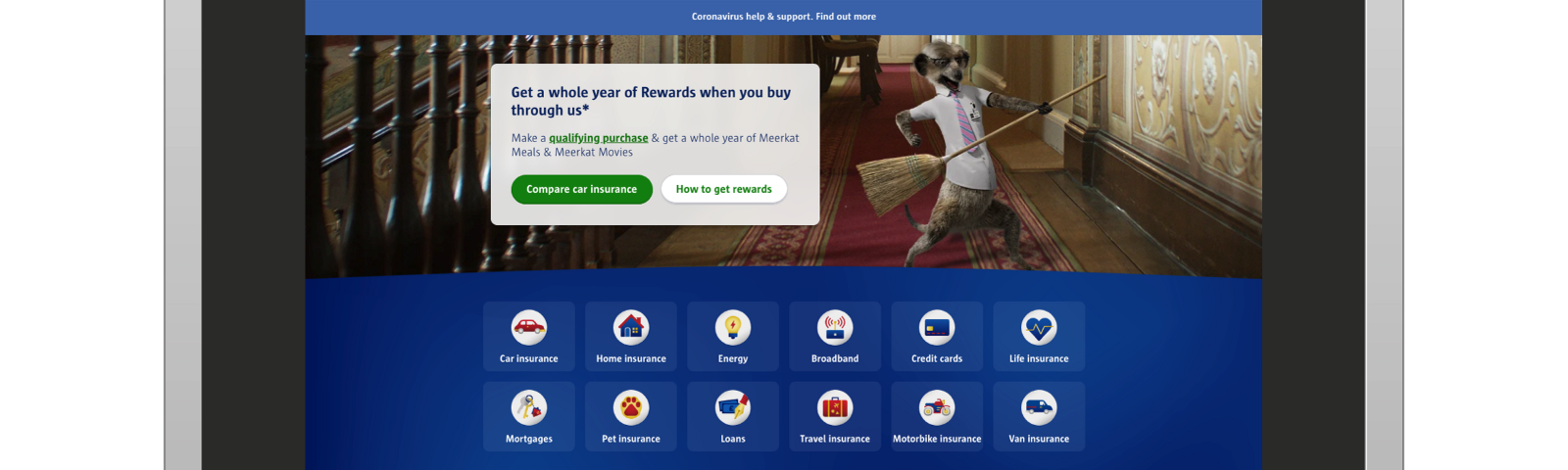 A picture of Compare The Market's homepage, showing the products they offer comparison on, displayed on a laptop screen