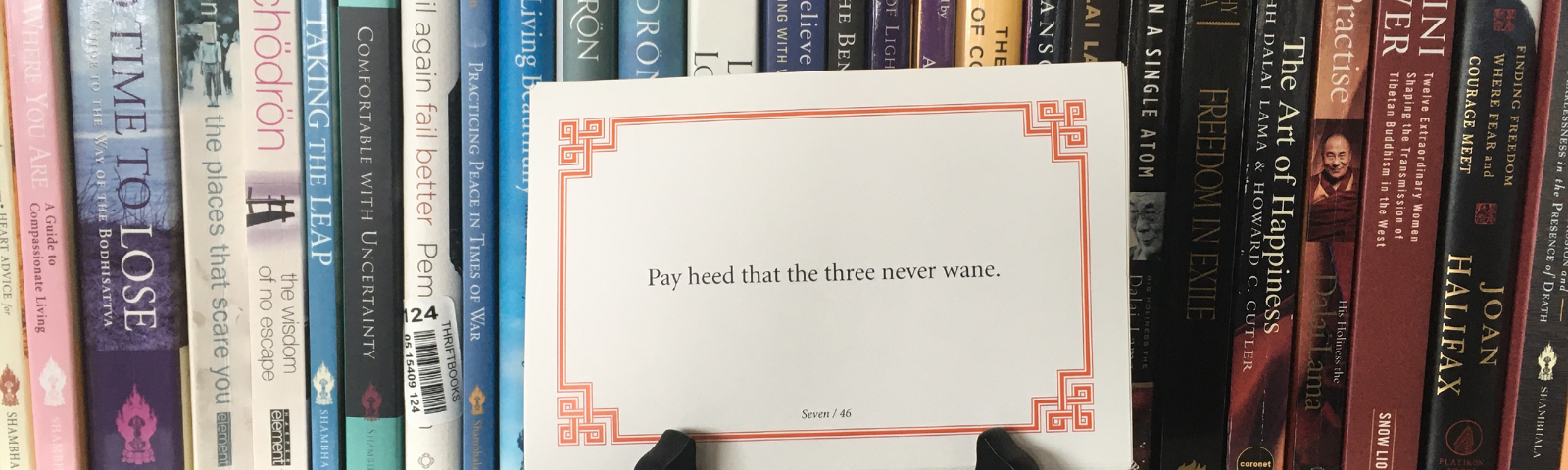 """Lojong card sitting on a black stand in front of a bunch of Buddhist books on a white shelf. The card reads """"Pay heed that the three never wane."""""""