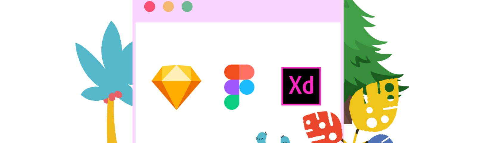 An illustration of Sketch, Figma, and Adobe XD logo inside of a browser window.