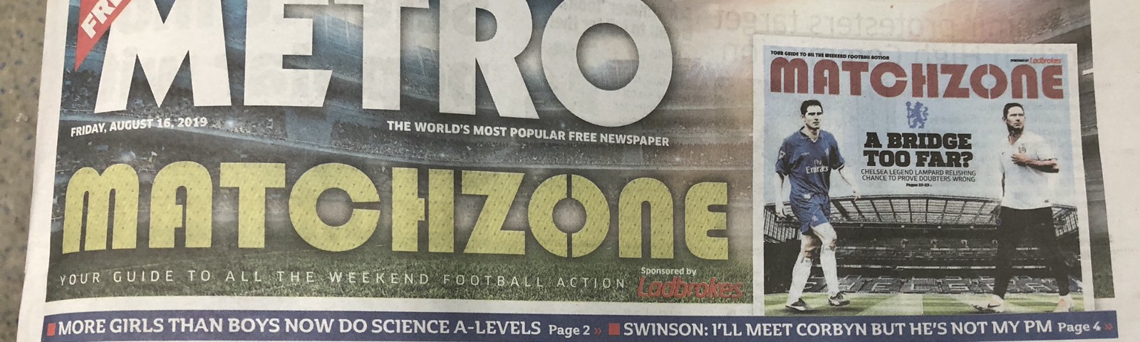 A photograph of the Metro newspaper header.