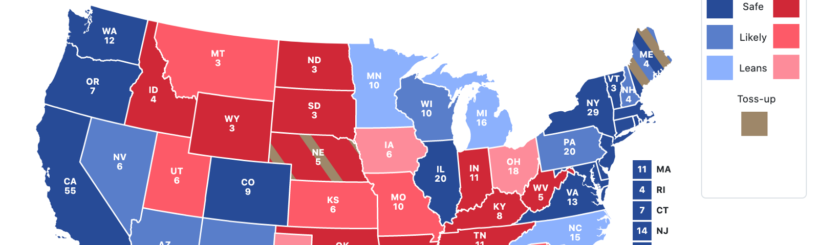 National state by state likelihood of Trump vs Biden winning Electoral College votes