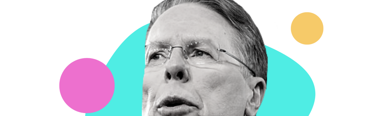 black and white image of Wayne LaPierre with various bold colored shapes around him