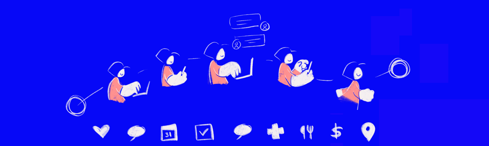A drawing of a person moving through various actions to achieve a goal—messaging, calendaring, or making payments