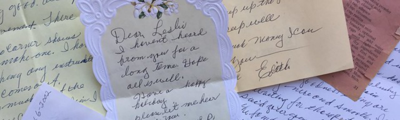 Letters from Edith Proctor to me, Leslie Stahlhut