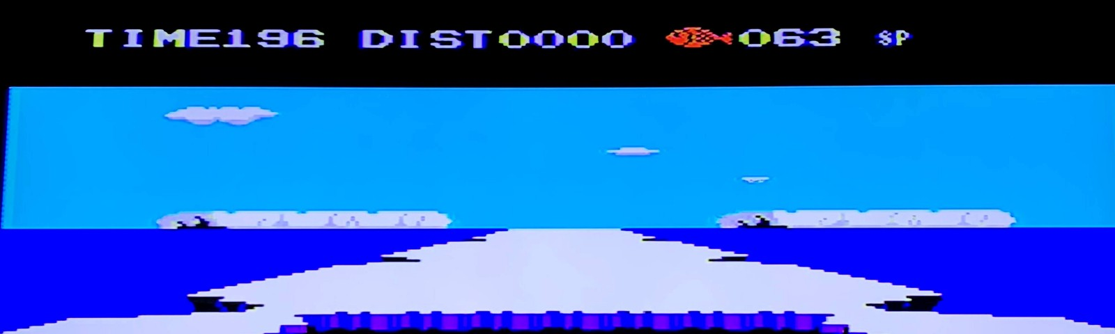 Scene from Penguin Adventure where penguins dance in an arctic landscape after beating a boss level.