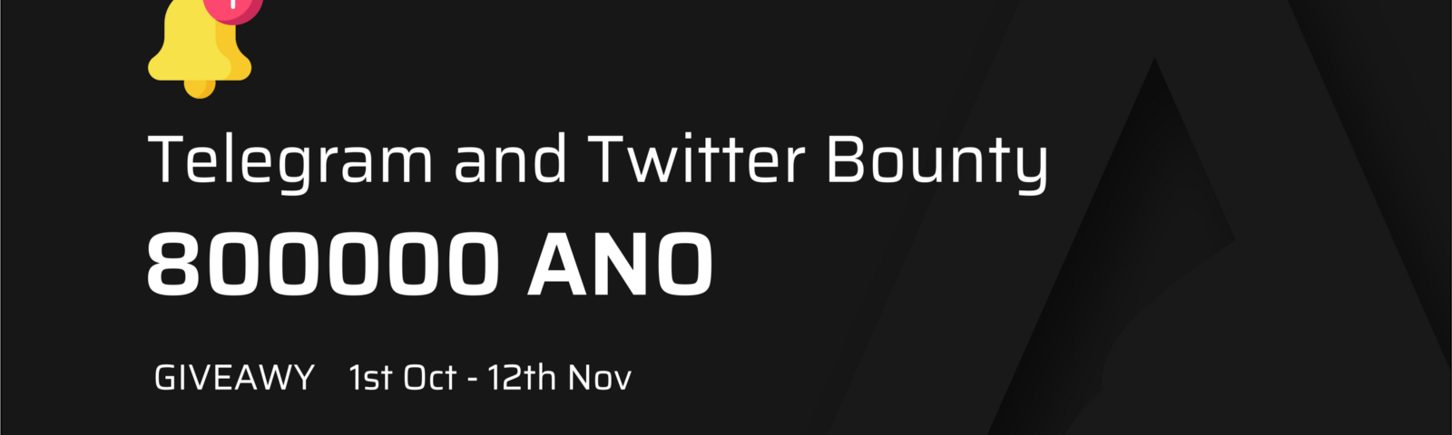 Arrano , The New Age decentralized exchange has announced its Telegtam and twitter bounty for 800000 ANO in giving out of 1%.