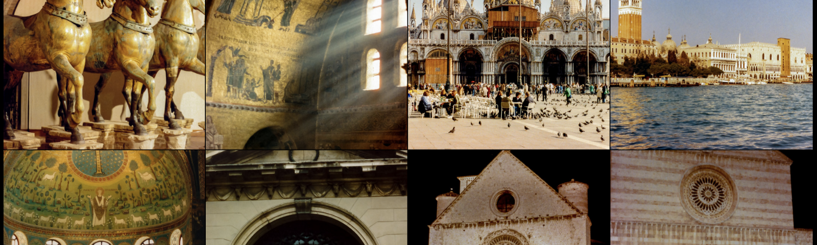 A grid of photos of Venice, Ravenna, and Assisi.