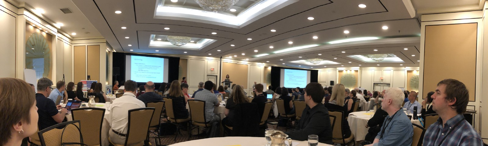A panoramic photograph of the 152 attendees at ICER.
