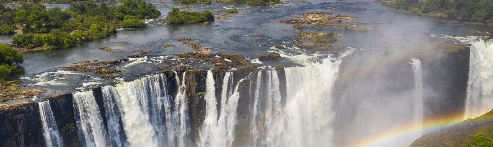 Aerial view of Victoria Falls in Africa.