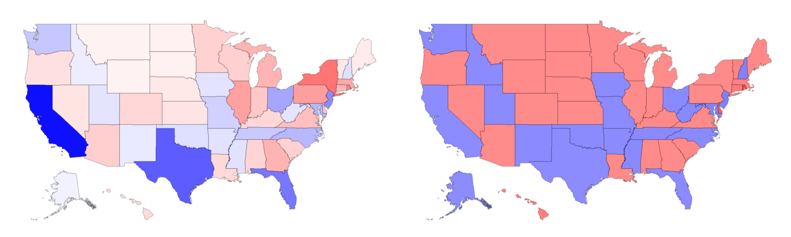 Two maps of the United States. The left one has California, Texas, Florida, and other large states colored darkly.