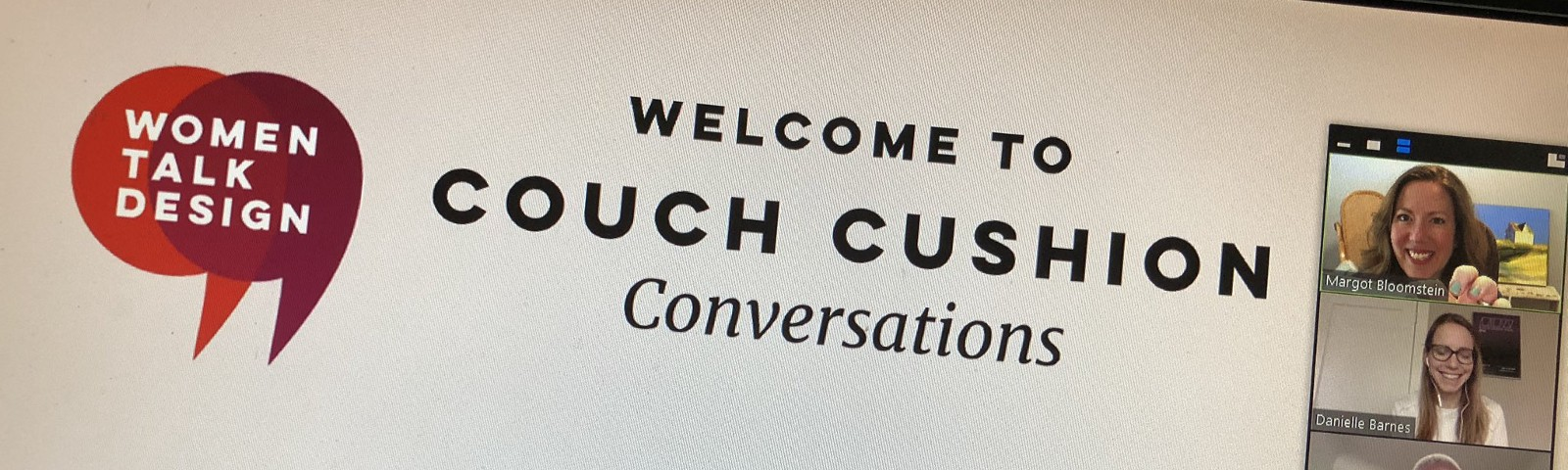 Photo o Couch Convo welcome screen with three speakers showing
