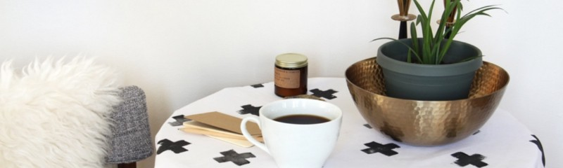 Make This: Simple Swiss-Cross Patterend Stamped Tablecloth