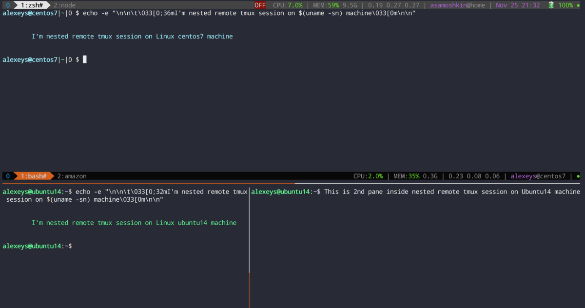 tmux in practice local and nested remote tmux sessions