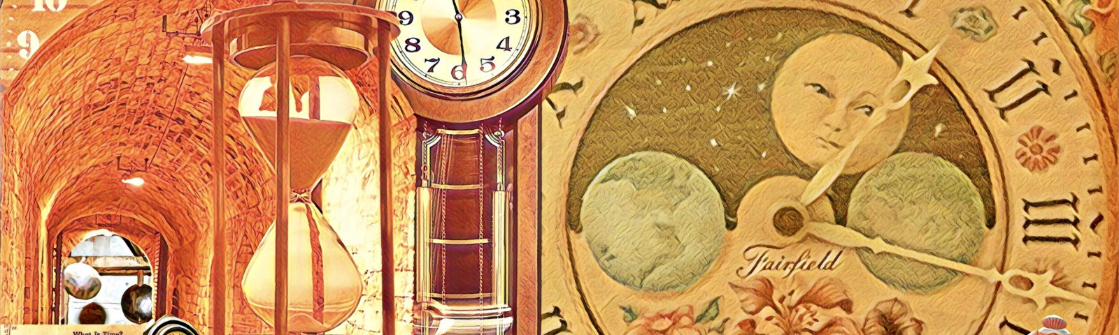 Images of assorted clocks, an hourglass, and a poem about time