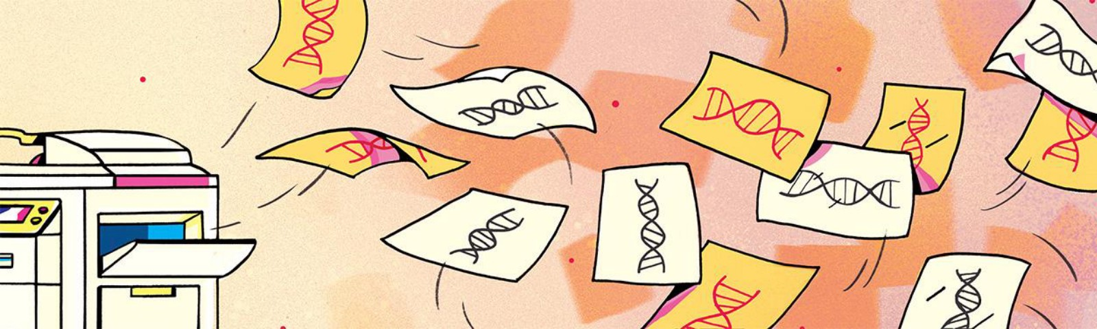 Illustration of a copy machine spitting out sheets of paper with DNA helices printed on them; two are yellow and pink.