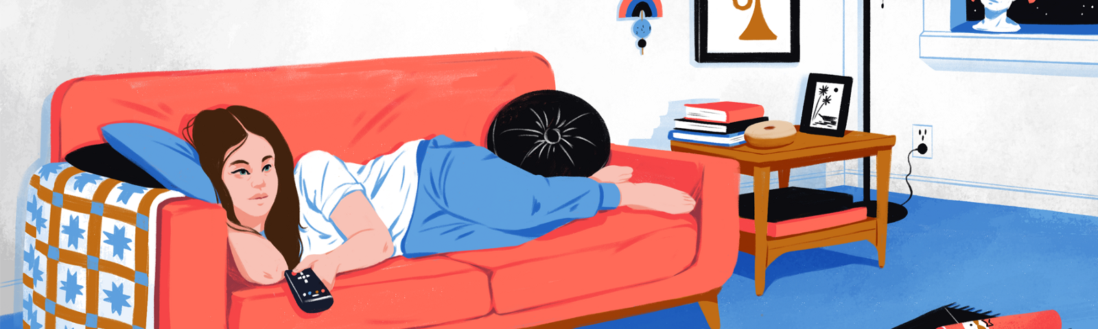 Illustration of a woman lying on her couch watching TV in comfort.