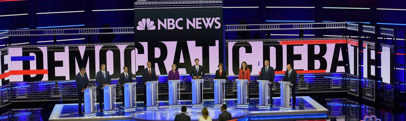 All the Democratic presidential candidates are on stage during the First Democratic Debate in 2019.
