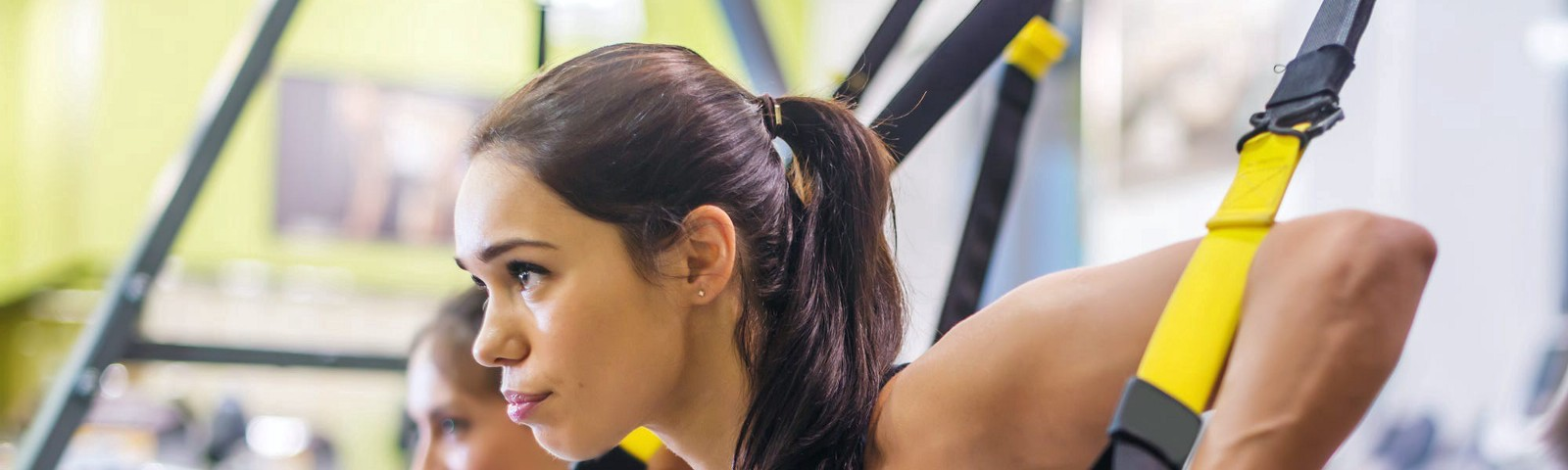 A person working out in a gym.