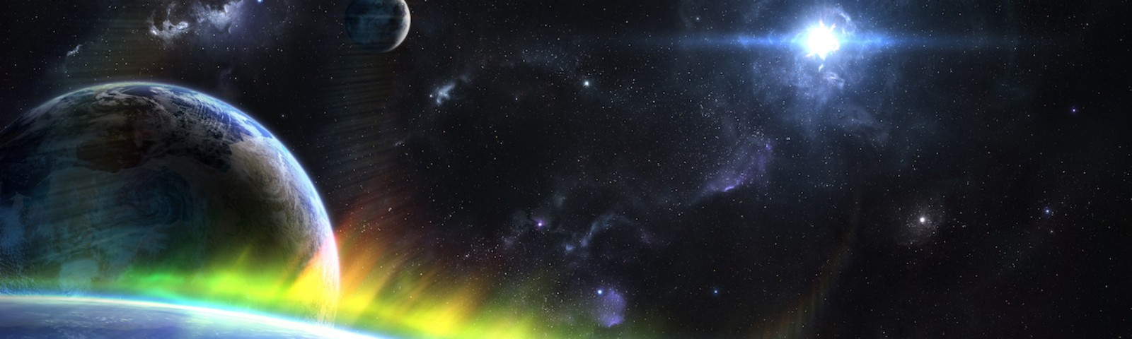 An Earth-like planet with bright green, yellow and red aurora, with planets, stars, and nebulae in the background.